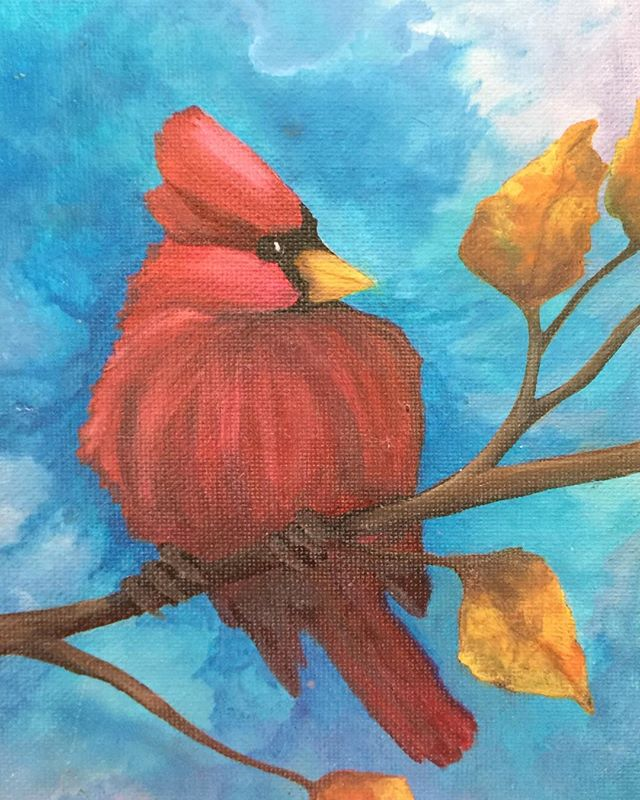 _A Sign_  6x8 oil  #cardinal #showmeasign #signsfromheaven #yourenotalone #guardianangel #heavensent