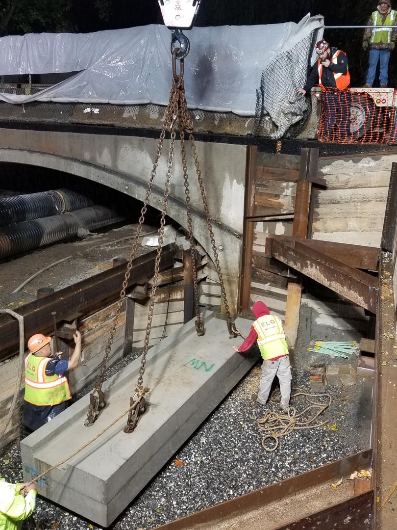 Crane pick to set concrete footing
