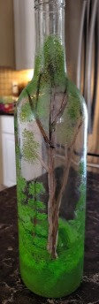 Hand Painted Woodland bottle - lighted