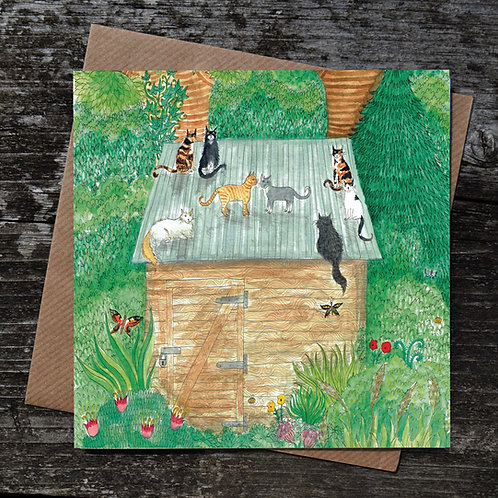 Cats on the Roof Greeting Card