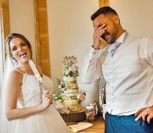 Beautiful Floral Semi Naked Wedding Cake Burley Manor