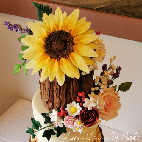 Woodland Log Slice Wild Flower Wedding Cake New Forest