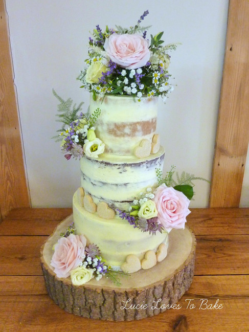 Beautiful Floral Semi Naked Wedding Cake Burley Manor