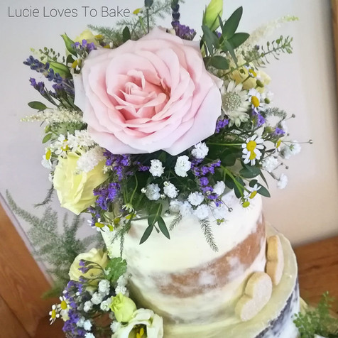 Beautiful Floral Semi Naked Wedding Cake New Forest