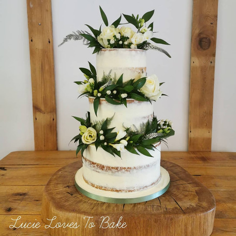 Green Foliage and White Semi Naked Vegan Wedding Cake
