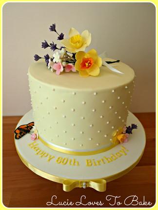 Lemon Floral 60th Birthday Cake