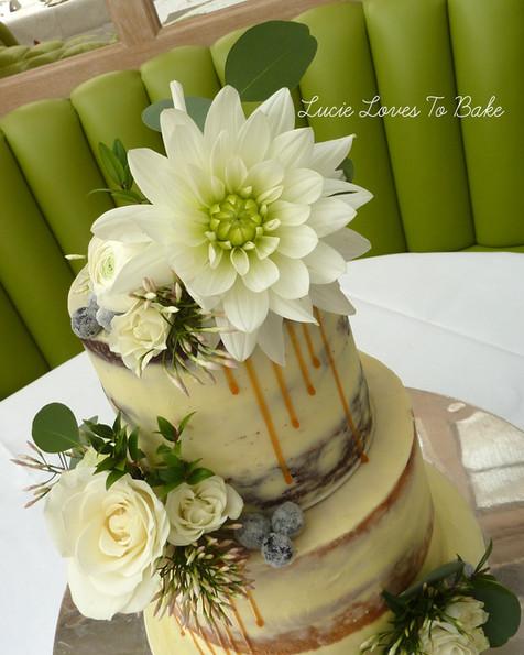 Greenery Semi Naked Wedding Cake