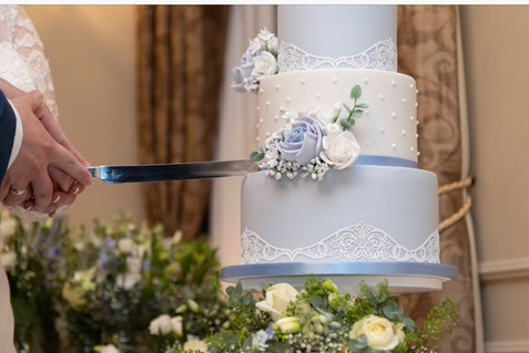 Powder Blue & White Lace Wedding Cake