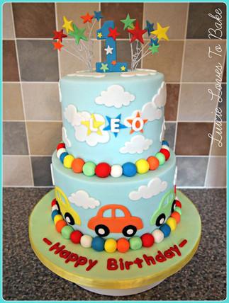 Vegan Birthday Boy Car Cake
