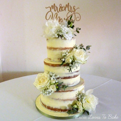White Wedding Semi Naked Wedding Cake