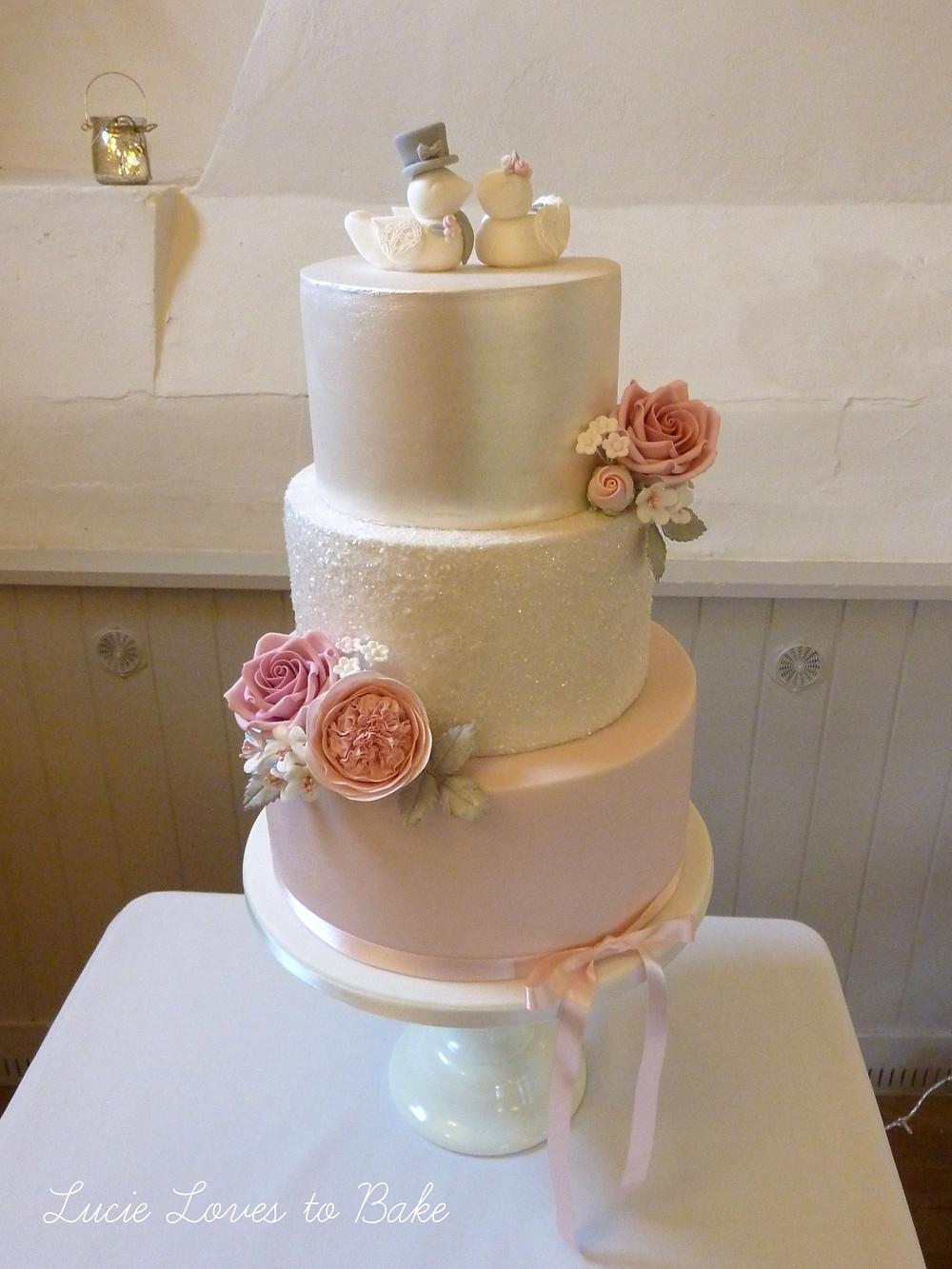 Sparkle glitter wedding cake with pink sugar flowers