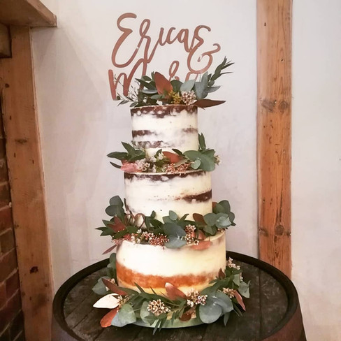 Fresh Foliage and Cooper Semi Naked Wedding Cake