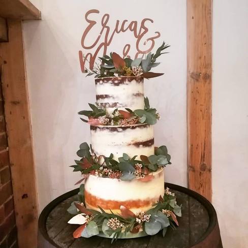 Fresh Foliage and Cooper Semi Naked Wedding Cake