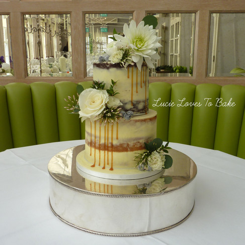 Greenery Semi Naked Wedding Cake
