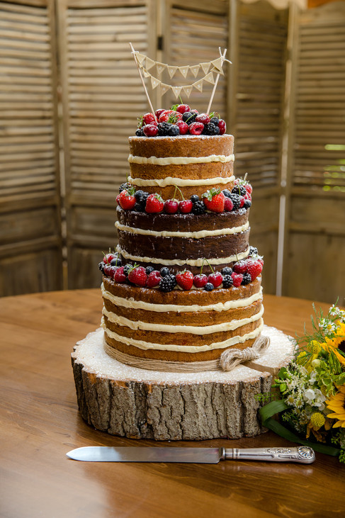 Naked Bunting Wedding Cake