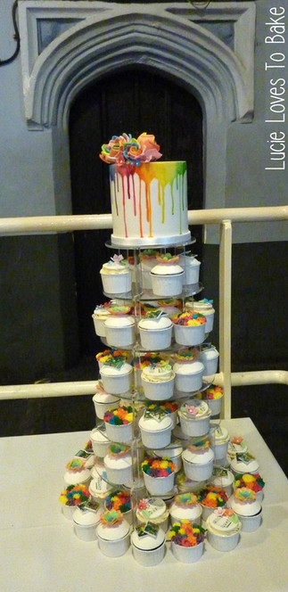 Wedding Rainbow Cupcake Tower