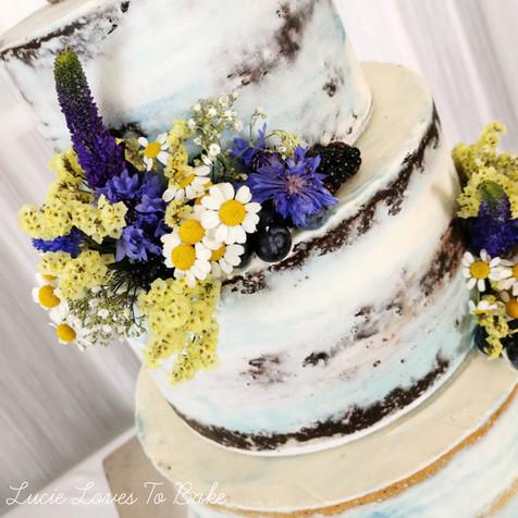 Wild Flower Blue and Yellow Semi Naked Wedding Cake