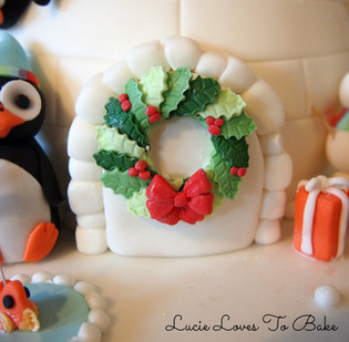 Christmas Igloo Penguin Cake