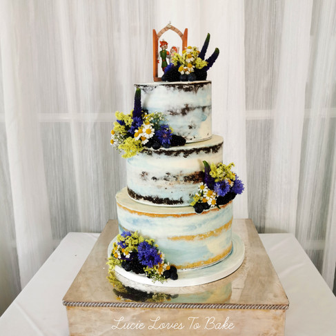 Wild Flower Blue and Yellow Semi Naked Wedding Cake