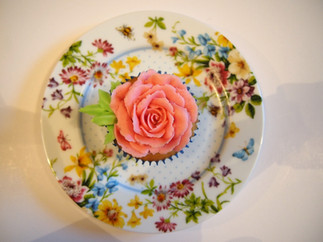 Coral Piped Rose Cupcake