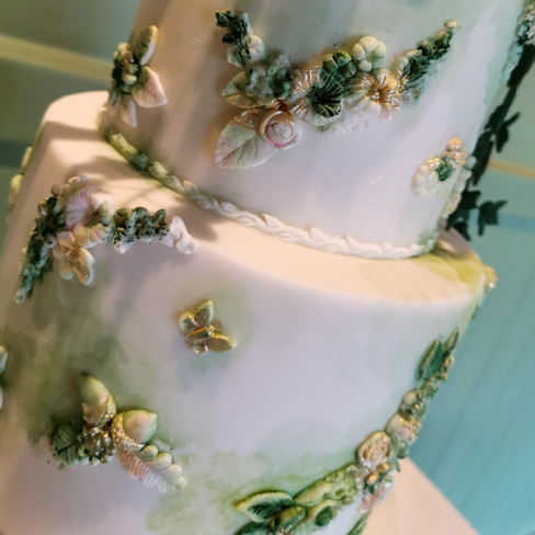 Green and Gold Bas Relief Vegan Wedding Cake New Forest Hampshire