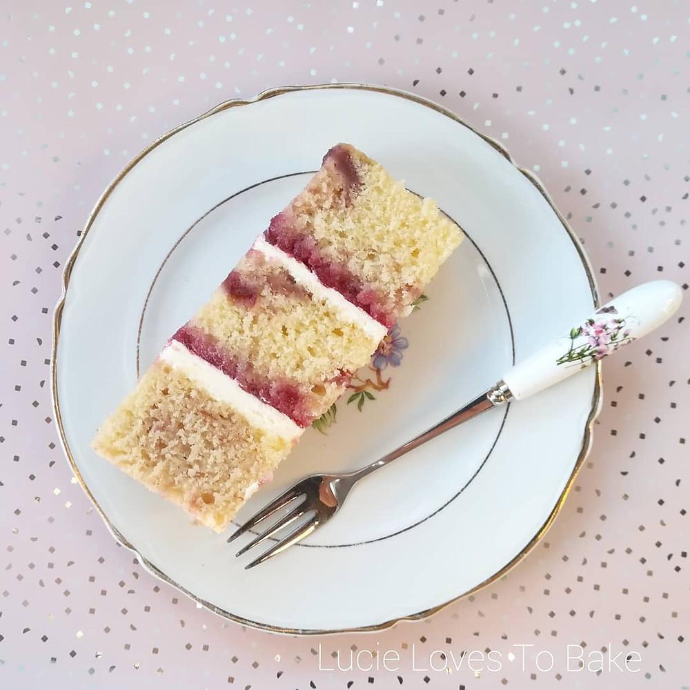 Vegan cherry bakewell cake slice