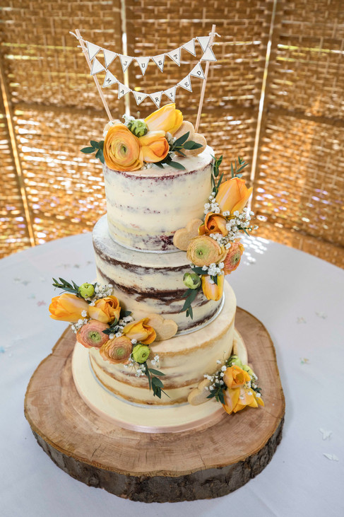 Peach & Orange Tulip Semi Naked Cake