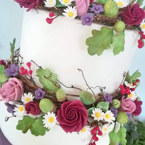 Boho Rich Autumn Sugar Floral Wreaths & Sugar Acorns