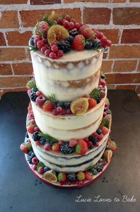 Semi Naked Fresh Fruit Wedding Cake