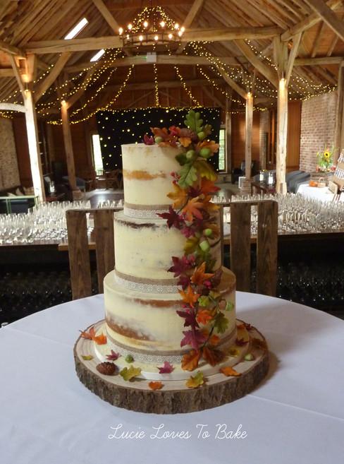 Autumnal Semi Naked Wedding Cake