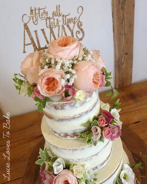 Harry Potter Floral Semi Naked Wedding Cake