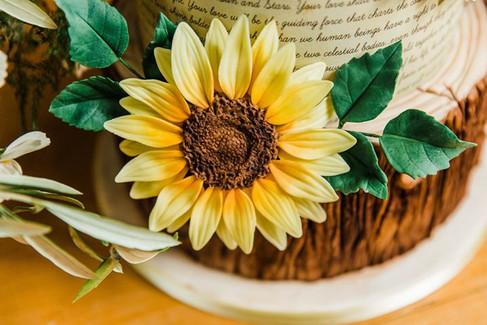 Woodland Sunflower Wedding Cake