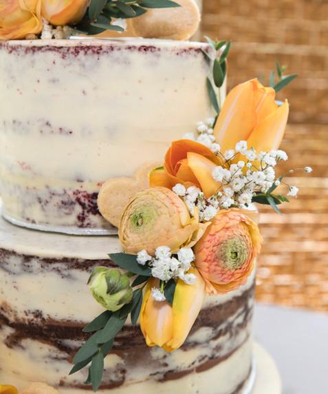 Peach & Orange Tulip Semi Naked Cake
