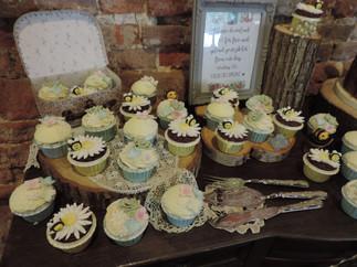 Bark Woodland Cake & Cupcakes New Forest Barn Wedding