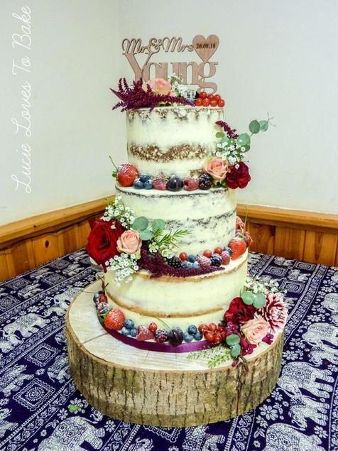 Summer Fruits & Flowers Semi Naked Wedding Cake