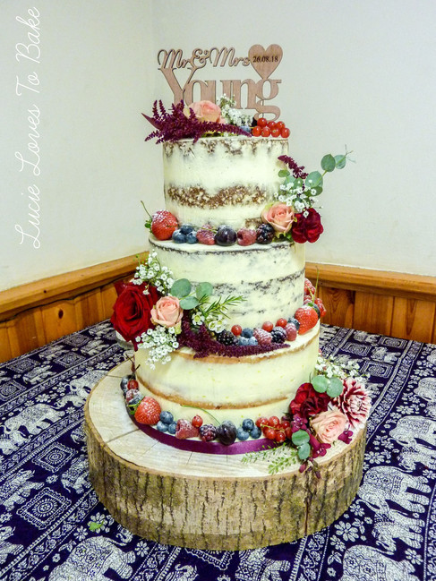 Summer Fruits & Flowers Semi Naked Wedding Cake