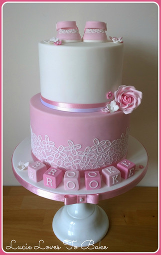 Pink Beautiful Christening Cake