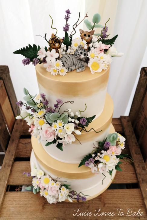Gold Wild Flower Meadow Cake