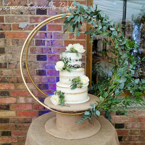 Foliage Green Hoop Semi Naked Cake