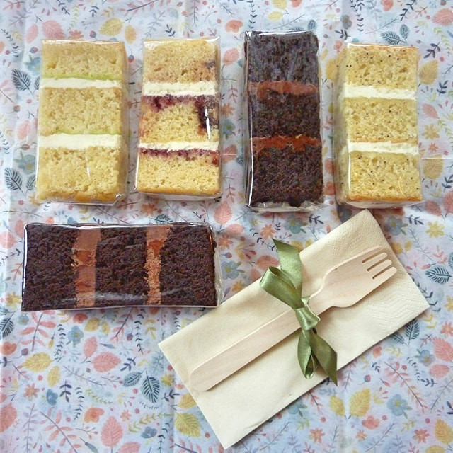 Vegan wedding cake sample tasters