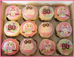 Owl Themed 80th Cupcakes