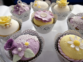 Lilac and Yellow Wedding Cupcakes