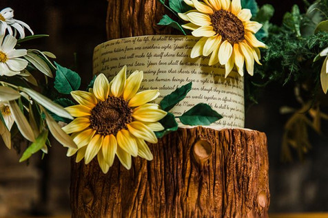 Woodland Sunflower Wedding Cake