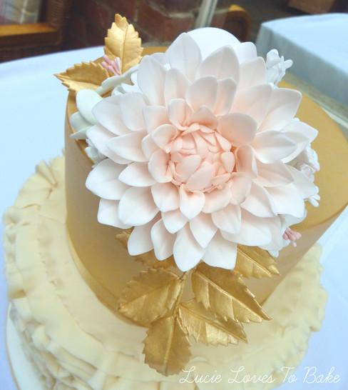 Gold Ruffle Wedding Cake Lymington