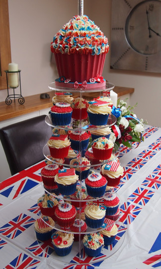 American & Union Jack Cupcake Tower