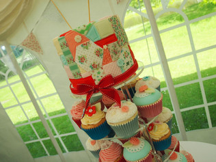 Patchwork Vintage Cath Kidston Style Cupcake Tower