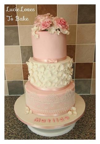 Pink Girls Christening Cake