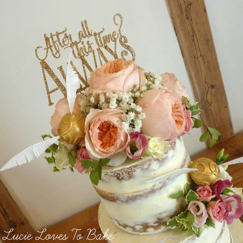 Harry Potter Floral Semi Naked Wedding Cake