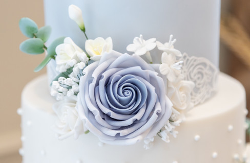 Powder Blue & White Lace Wedding Cake
