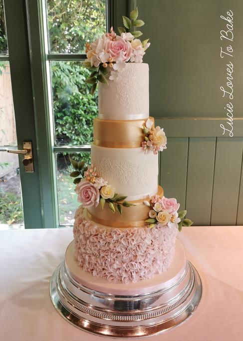 Gold & Blush 5 Tier Luxury Wedding Cake Hampshire